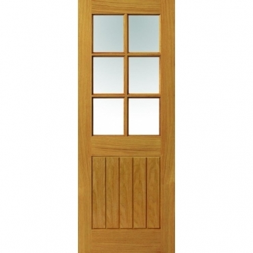 JB Kind Oak Cottage Thames 6 Light Oak Glazed Door