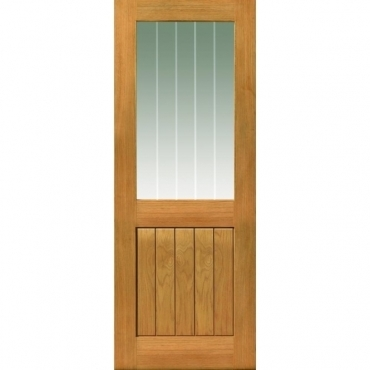 JB Kind Oak Cottage Thames II 1/2 Light Oak Glazed Door