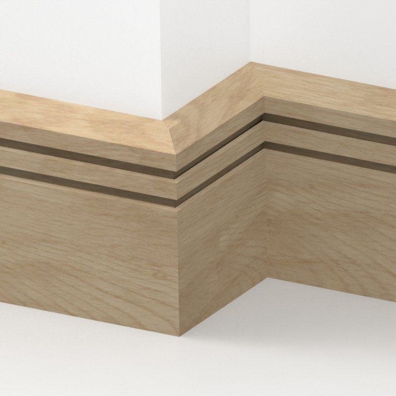 Oak solid chamfered double edge skirting 3 metre from for Wood skirting