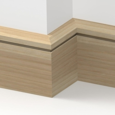 Solid Ash Chamfered Single Edge Skirting 3 metre