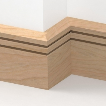 Solid Cherry Chamfered Double Edge Skirting 3 metre
