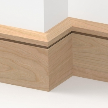 Solid Cherry Chamfered Single Edge Skirting 3 metre