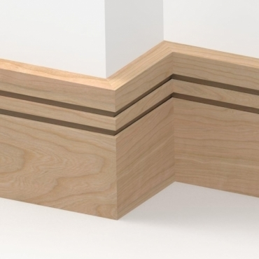 Solid Cherry Square Double Edge Skirting 3 metre