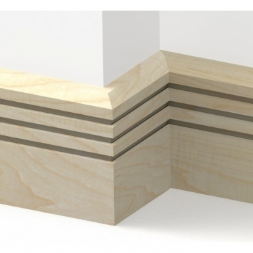 Solid Maple Chamfered Triple Edge Skirting 3 metre