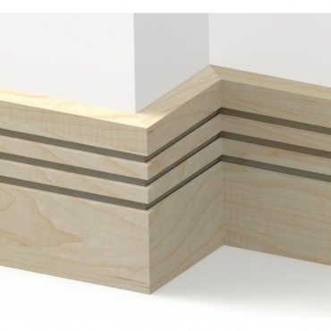 Solid Maple Square Triple Edge Skirting 3 metre