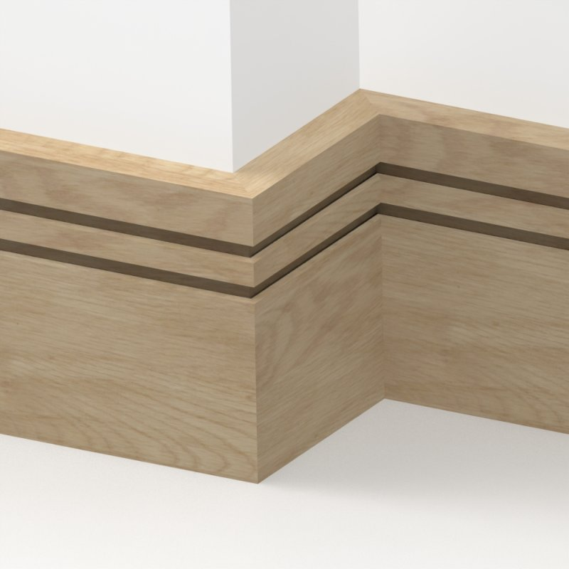 Solid Oak Square Double Edge Skirting 3 Metre From