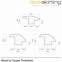 Solid Oak White Primed Wood to Carpet Threshold 0.9 Metre