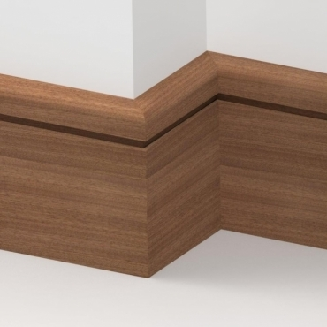 Solid Sapele Bullnose Single Edge Skirting 3 metre