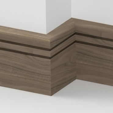Solid Walnut Bullnose Double Edge Skirting 3 metre