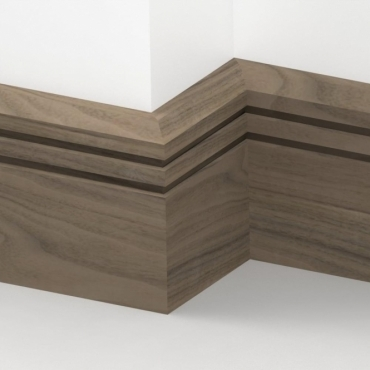 Solid Walnut Chamfered Double Edge Skirting 3 metre