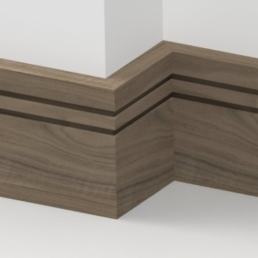 Solid Walnut Square Double Edge Skirting 3 metre