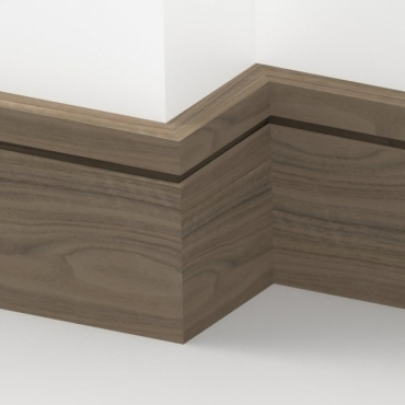 Solid Walnut Square Single Edge Skirting 3 metre